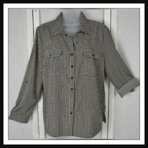 NY Collection, Black & Gray Check Button-Up Blouse